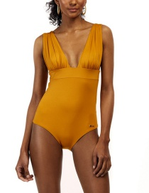 Fashion Yellow Pleated Printed V-neck Patchwork Swimsuit