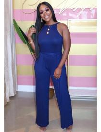 Fashion Royal Blue High Waist Back Cutout Sleeveless Lace Up Jumpsuit