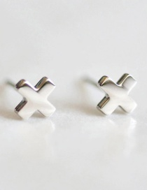 Fashion Silver Titanium Steel Shiny Cross Stainless Steel Earrings