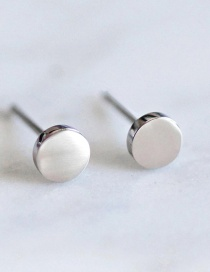 Fashion Silver Shiny Stainless Steel Geometric Round Earrings