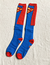 Fashion Blue Children's Stockings With Contrasting Geometric Shapes
