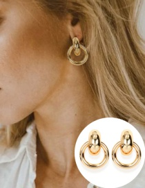 Fashion Golden Geometric Alloy Plating Hollow Earrings