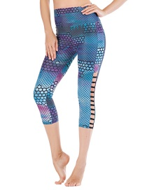Fashion Blue [pants Only] Flower Print Contrast Yoga Sports Fitness Cropped Pants