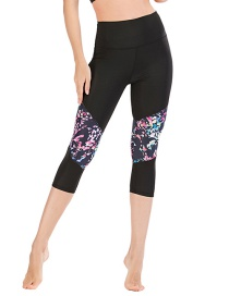 Fashion Black [pants Only] Geometric Print Contrast Color Yoga Sports Fitness Cropped Pants