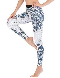 Fashion Blue [pants Only] Flower Print Contrast Yoga Yoga Pants