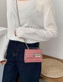 Fashion Pink Crocodile Chain Shoulder Bag