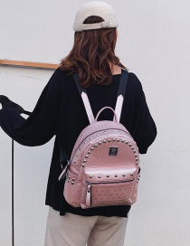 Fashion Pink Queen Studded Checked Backpack