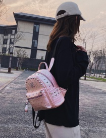 Fashion Pink Trumpet Studded Checked Backpack