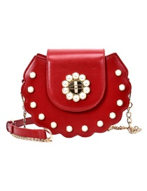 Fashion Large Red Pearl Studded Wavy Shoulder Crossbody Bag