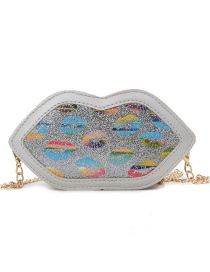 Fashion Silver Sequined Lip Contrast Shoulder Crossbody Bag
