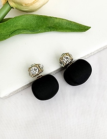 Fashion Black Alloy Diamond Stud Earrings