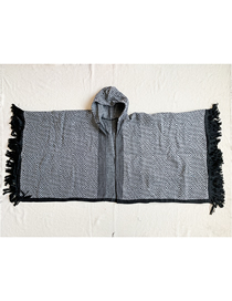 Fashion Black Hooded Checked Fringed Shawl