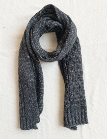 Fashion Black Knitted Chain Striped Scarf