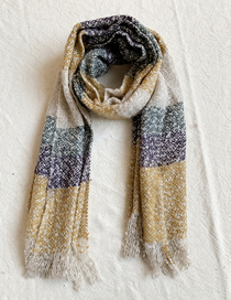 Fashion Khaki + Purple Knitted Plush Stitching Fringed Scarf