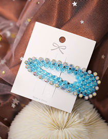 Fashion Blue Triangle Hollow Hairpin With Diamonds