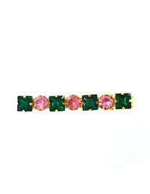 Fashion Green + Pink Diamond-shaped Faceted Crystal Geometric Hairpin