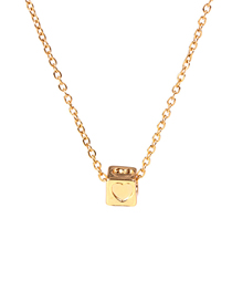 Fashion Golden Square Large Hole Bead Rubik's Cube Three-dimensional Love Necklace