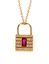 Fashion Golden Diamond Lock Stainless Steel Clavicle Chain