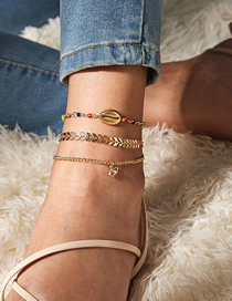 Fashion Golden Rice Bead Shell Leaf Chain Alloy Anklet