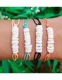 Fashion Color 4 Piece Set Of Woven Rope Broken Shell Bracelet