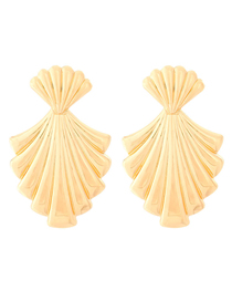 Fashion Golden Wavy Textured Leaves Geometric Earrings