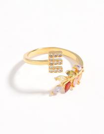 Fashion E Gold Flower Copper Micro-set Zircon English Alphabet Ring