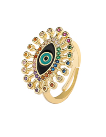 Fashion Black Dripping Eyes Copper Micro-set Color Zircon Open Ring