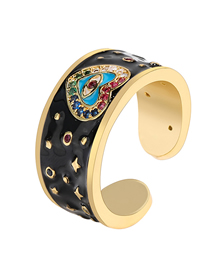 Fashion Black Dripping Oil Loving Eyes Copper Micro-set Color Zircon Open Ring