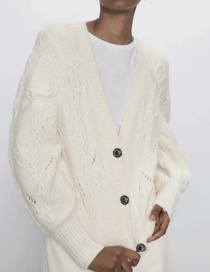 Creamy-white Jewelry Button V-neck Openwork Knitted Cardigan