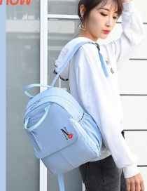 Fashion Peacock Blue Embroidered Lip Letter Print Oxford Backpack