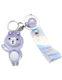 Fashion Purple Ice Flower Resin Bear Keychain