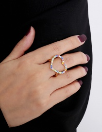 Fashion Golden Hollow Metal Contrast Color Heart Ring