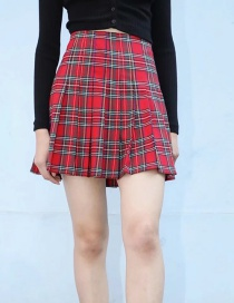 Red Plaid Short Pleated Skirt