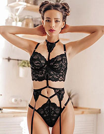 Fashion Black Three-point Sexy Lingerie Set With Lace Straps