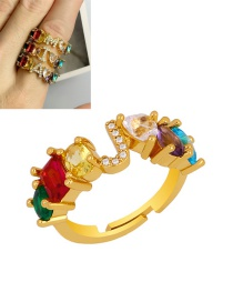 Fashion J Gold Heart-shaped Adjustable Ring With Colorful Diamond Letters