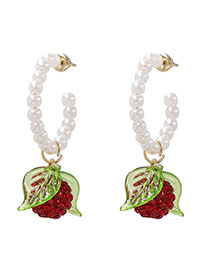 Fashion Red Fruit Red Pineapple Red Fruit Irregular Stone Pearl Earrings