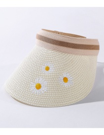 Fashion Milk White Embroidery Daisy Sunscreen Top Hat