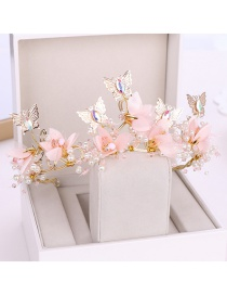 Fashion Pink Alloy Butterfly Flower Hoop