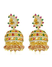 Fashion 18k Gold Copper Inlaid Zircons With Wind Bell And Tassel Earrings