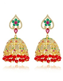 Fashion 18k Gold Copper Inlaid With Zircon: Hollow Flowers: Tassels