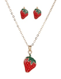 Fashion Red Alloy Drip Oil Strawberry Stud Necklace Set