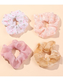 Fashion Colour Chiffon Broken Flower And Large Intestine Ring Combination Hair Rope