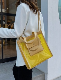 Fashion Yellow Transparent Matching Single Shoulder Bag Satchel