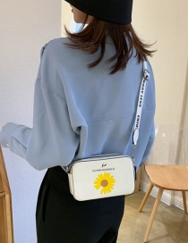 Fashion White Daisy Printed Single Shoulder Satchel
