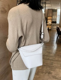 Fashion White Hand Knitted Shoulder Shoulder Bag