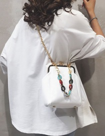 Fashion White Clip Color Chain Shoulder Shoulder Bag