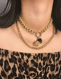 Fashion Golden Love Chain Geometric Round Alloy Necklace
