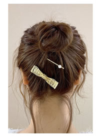 Fashion Hollow Bow Gold Alloy Geometric Hairpin