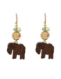 Fashion Brown Alloy Wooden Elephant Ear Earrings