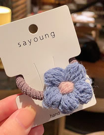 Fashion Blue Knitting Knitted Flowers Circle